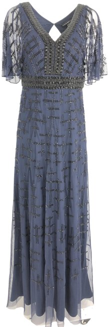 Aidan Mattox Blue Beaded Cape Sleeve Flutter Gown Long