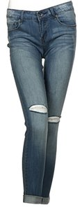 Ripped Denim Blue Skinny Jeans-Medium Wash