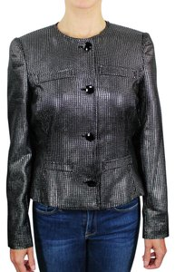 John Richmond Evening Wear To Work Metallic Diamond Silver Black Blazer