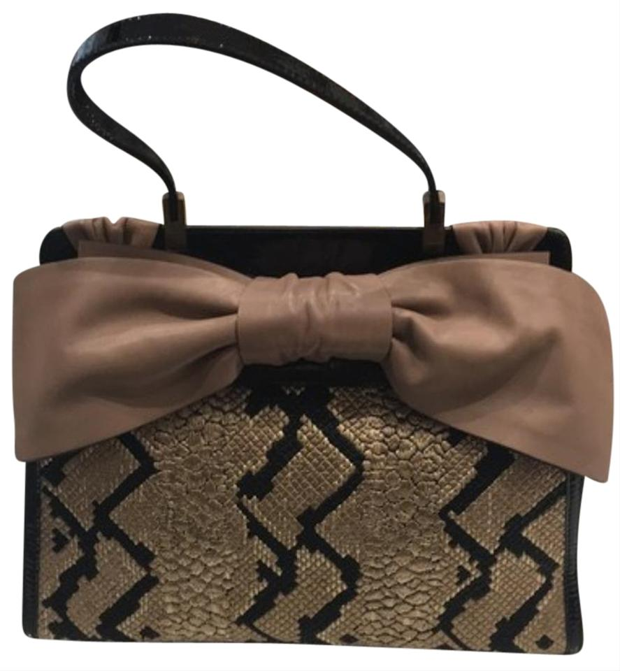 ac967e3212c Valentino Bow /Taupe Panther Print Black and Taupe Patent Leather Satchel