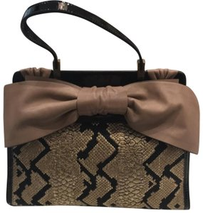 Valentino Satchel in Black and Taupe
