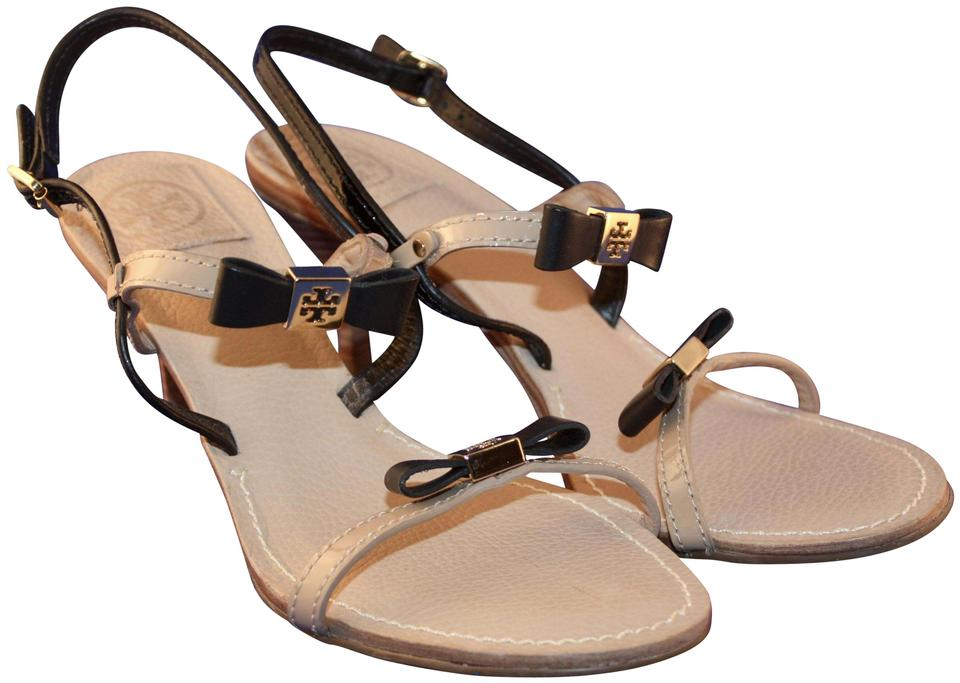 4f5eef2eef3f Tory Burch Black and Tan Kailey Two Tone Bow Sandals Size US 8.5 ...