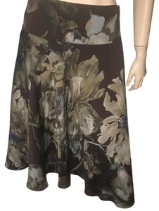 Ralph Lauren Floral Silk Water Paint Silk Skirt brown