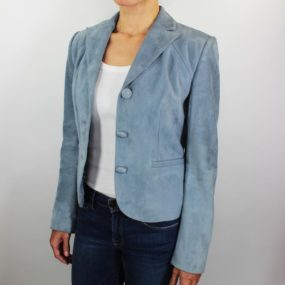 c241e8d8cdd55 Ann Taylor Blue Fitted Cropped Robin 3 Button Suede Leather Jacket ...