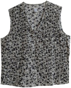 Dosa Cotton Ruffle Front Ruffle Cotton Top Black, grey and white floral print