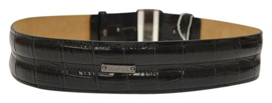Max Mara MAX MARA NEW Leather Belt Size M Black Crocodile