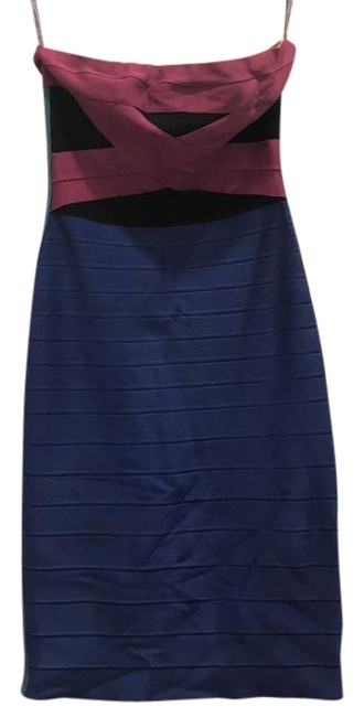 Item - Color Block (Blue Purple Green & Black) 10072620 Short Night Out Dress Size 4 (S)