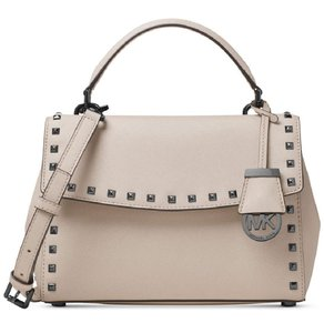 Michael Kors Studded Gunmetal Hardware Leather Satchel in Grey