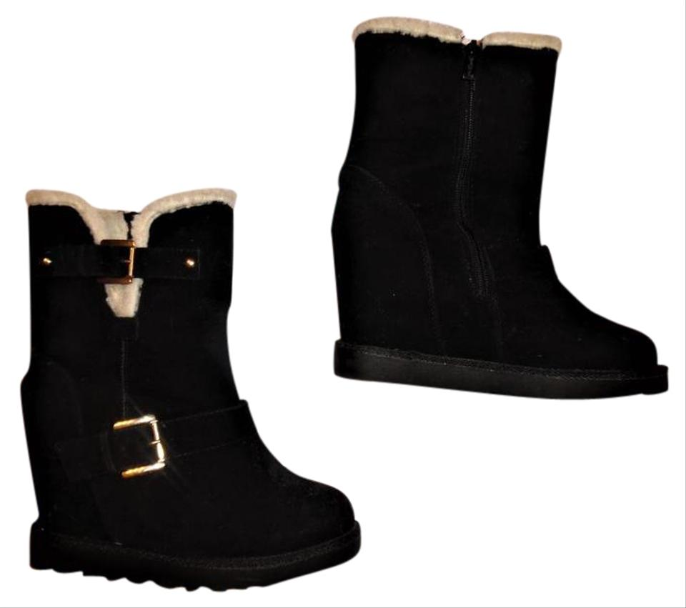 Nature Buckled Breeze Black Faux Suede Buckled Nature High Boots/Booties 54e3b9