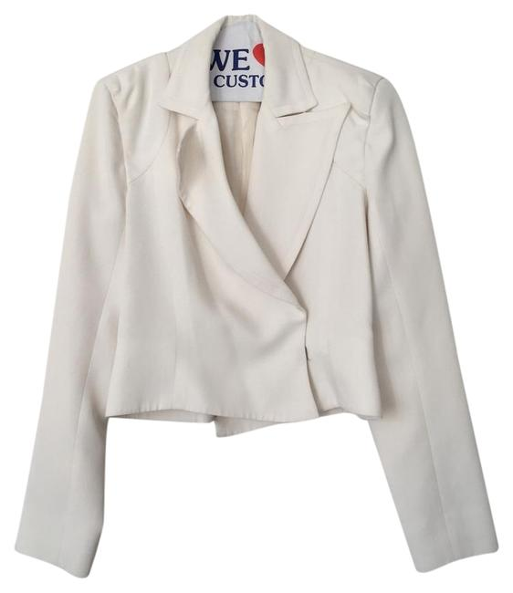Item - Ivory Dry Cleaned Yves 36 White Cropped F36 Blazer Size 4 (S)