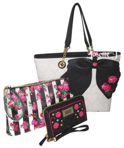 Betsey Johnson Appliques Pouch Color Wallet Tote in bone/black multi
