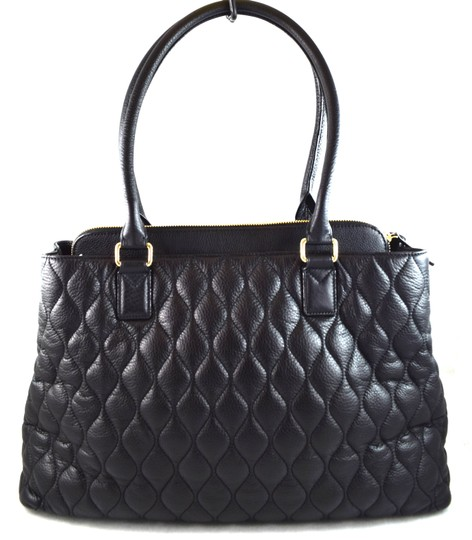 Vera Bradley Black Leather Quilted Emma Tote Tradesy