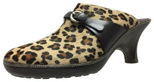 Cole Haan Animal Print Detailed Stitching Leather Rubber Soles Black, Brown, and Tan Mules