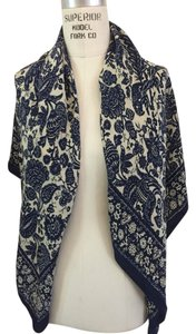Bloomingdale's Blue And Cream Silk Scarf