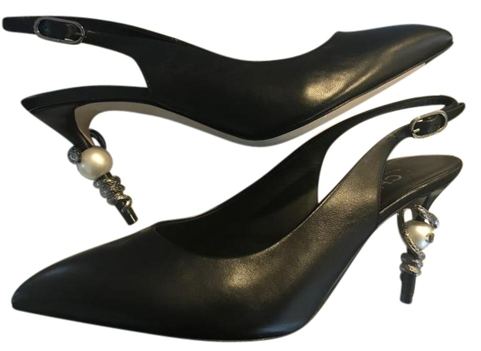 64da9b0ad95 Chanel Black 16a Lambskin Leather Serpent Snake Pearl Slingback Heels  Sandals