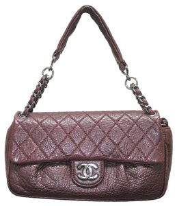 Chanel Jumbo Burgundy Red Distressed Leather Shoulder Bag