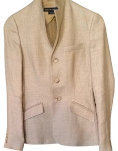 Ralph Lauren Blue Label Suiting Taupe/ Cream/ Light Blue Linen Weave Blazer