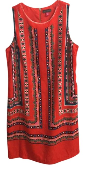 Item - Red with Print Summer Mid-length Short Casual Dress Size 4 (S)