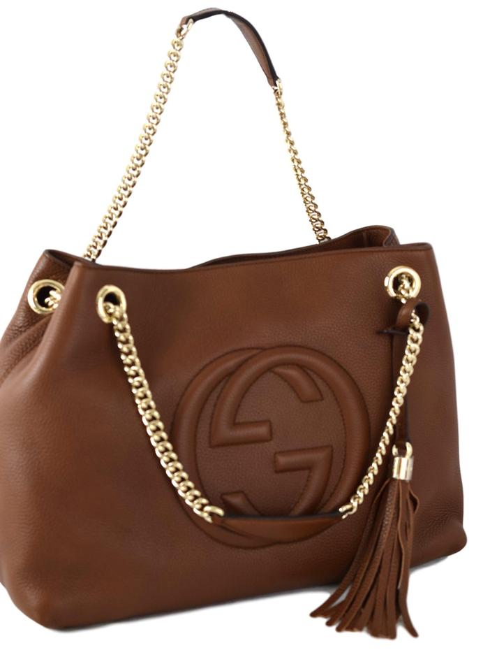 Gucci Soho Chain 308982 Leather Tote In Maple Brown