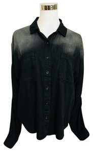 BDG Shirt Urban Outfitters Ombre Ombre Shirt Button Down Shirt Black,, Gray