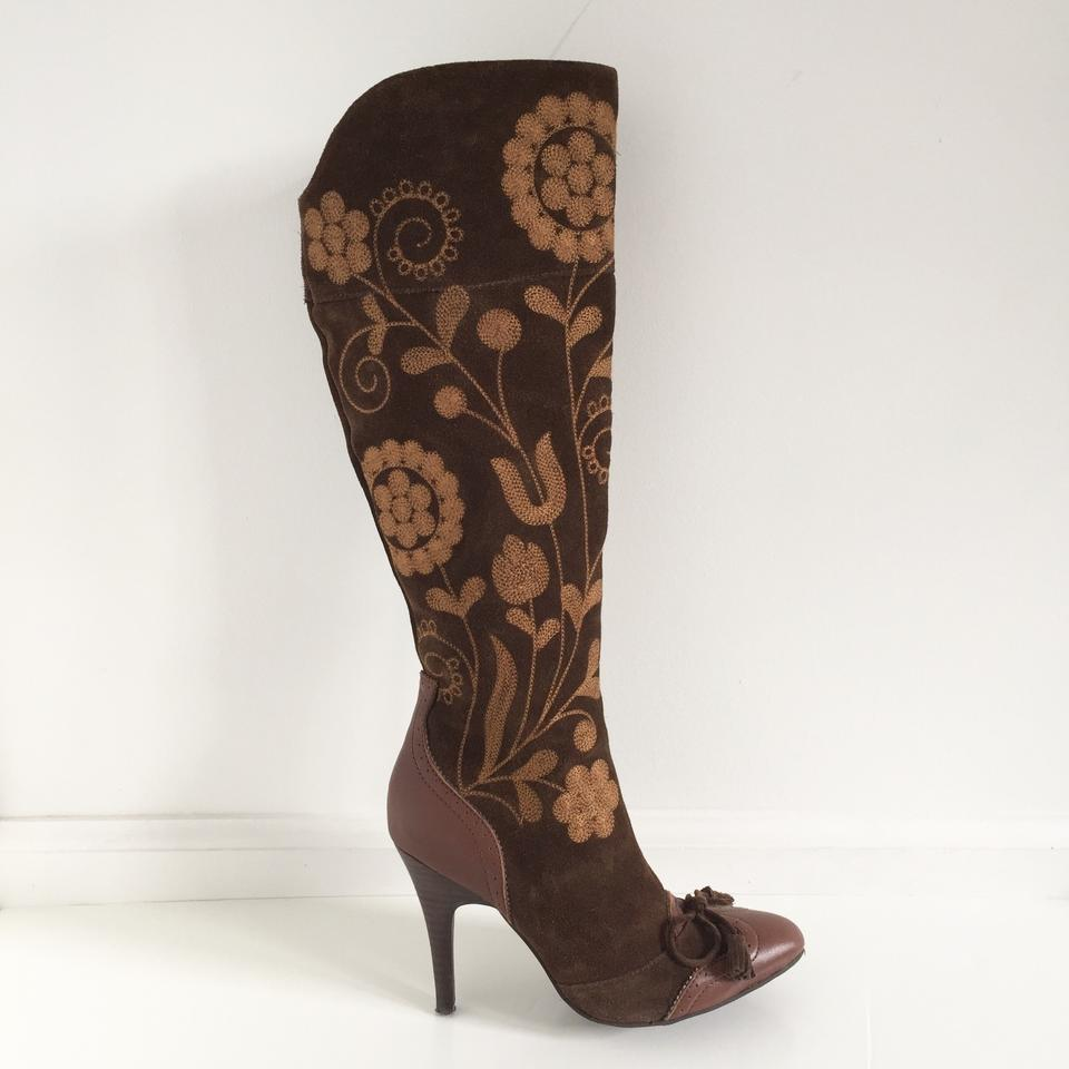 d3bafd9cab4265 Sam Edelman Chocolate Brown Suede Embroidered Boots Booties Size US ...