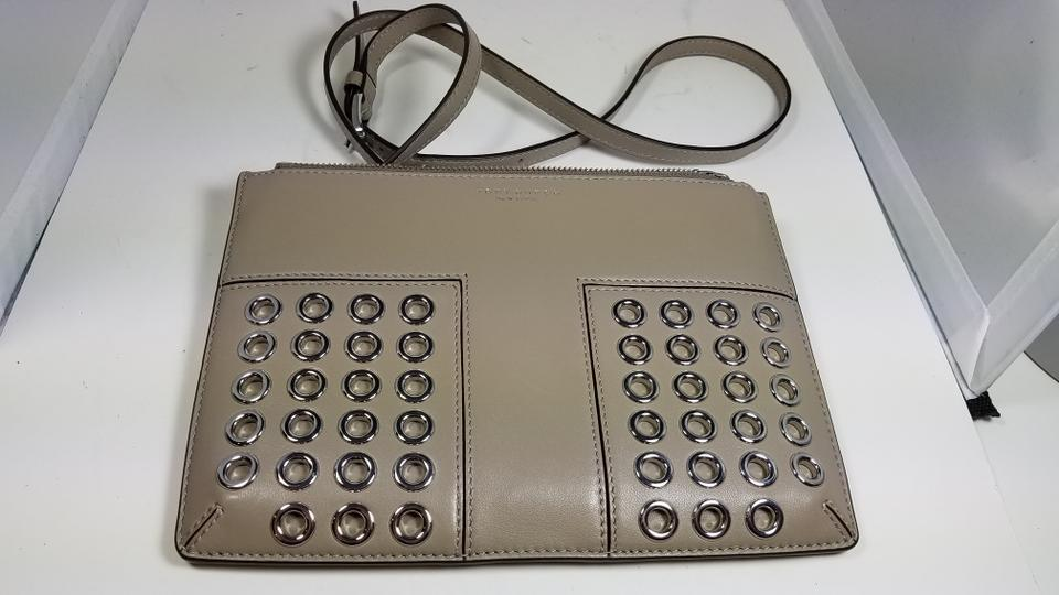9d99d27a6985 Tory Burch Block-T T Grommet Mini In 31615 French Gray 036 Leather Cross  Body Bag