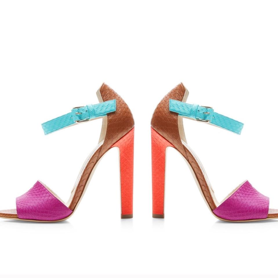 4f5eab08c897 Brian Atwood Multi-colored Iosy Color-block Snakeskin Sandals Size ...