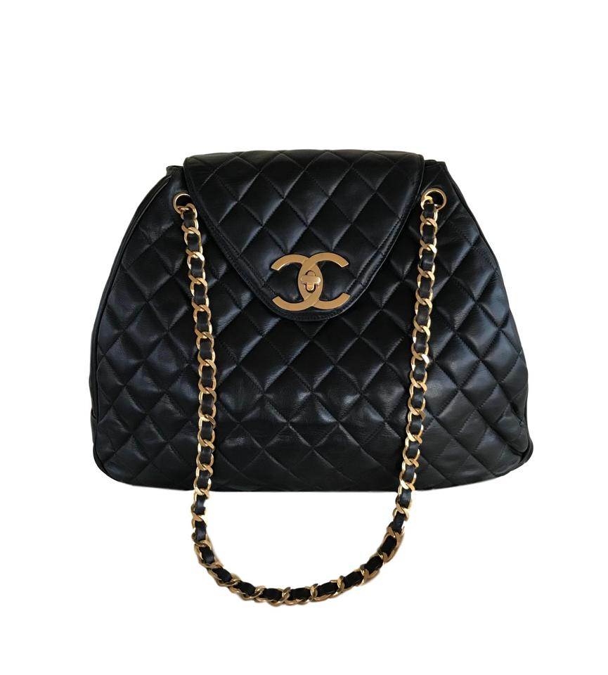 128c0e2ea8f Chanel Classic Supermodel Vintage 1993 Jumbo Xl Quilted Tote Overnight  Carry On Flap Black Lambskin Leather Shoulder Bag