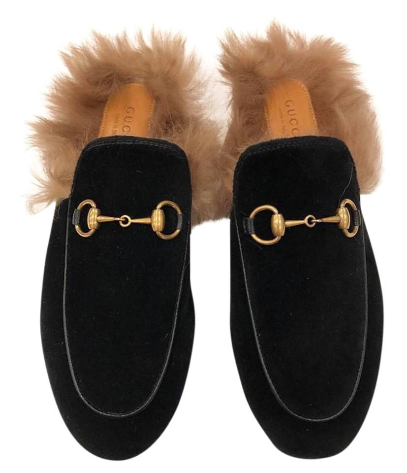 0f336de053d Gucci Black Horsebit Princetown Velvet Fur Slide Loafer Mule Slipper ...