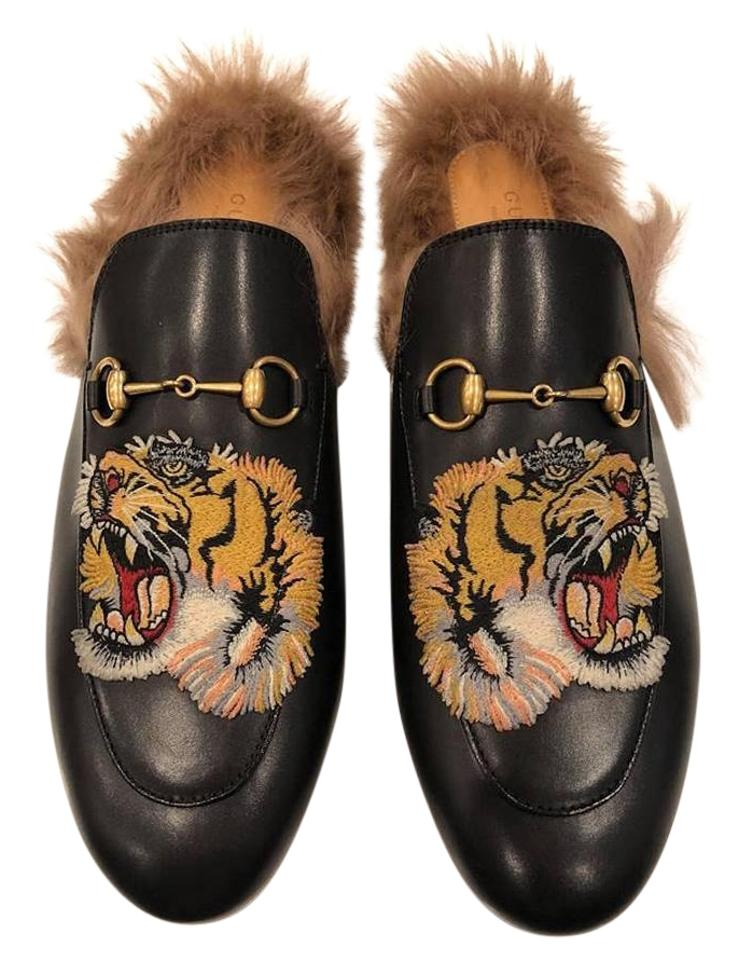 bef59134a46 Gucci Black Princetown Leather Fur Tiger Slide Loafer Mule Slipper ...