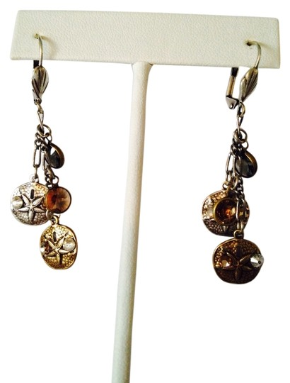 JS Collections NWOT Sand Dollar Copper\Silver With White & Amber Crystal Shaky Earrings