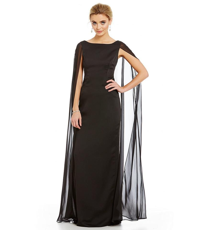 Adrianna Papell Black Satin Column Gown with Chiffon Long Formal ...