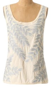 Anthropologie Silver Leaf Shimmer Embroidered Top Cream