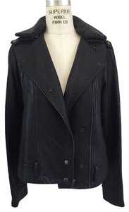 Charlotte Ronson Fur Leather Designer Black Jacket