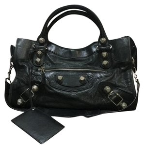 Balenciaga Studs City Giant Studded Satchel in dark gray