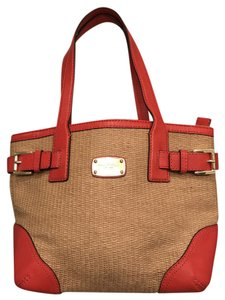 Michael Kors Small Corn Tote in Mandarin Orange & Straw