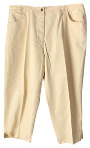 Talbots 5-pocket Style Elastic Insets Vented Hemline Plus-size Capri/Cropped Pants Yellow