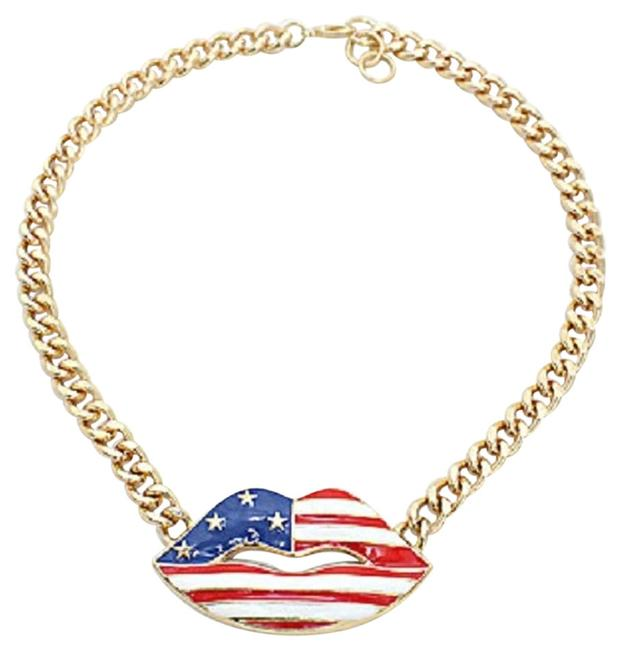 Item - Gold Tone Red White and Blue American Flag Patriotic Lips Chain Star Accent Necklace