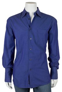 Dolce&Gabbana Men's Button Shirt Button Down Shirt Blue Purple