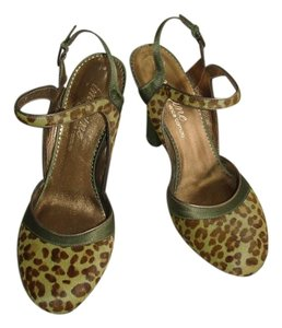 Imagine by Vince Camuto Jane olive green satin and cheetah printed calf hair Pumps