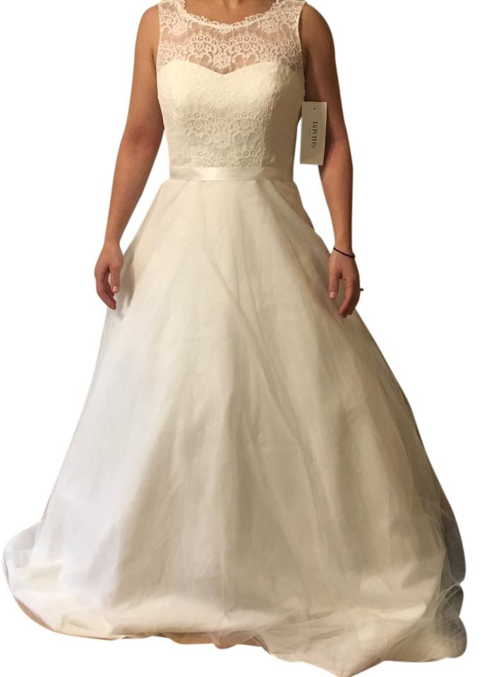David 39 s bridal ivory lace with tulle skirt vintage wedding for David s bridal tulle wedding dress