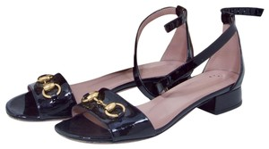 Gucci Gold Horsebit Gold-tone Horsebit Leather Black Patent Sandals