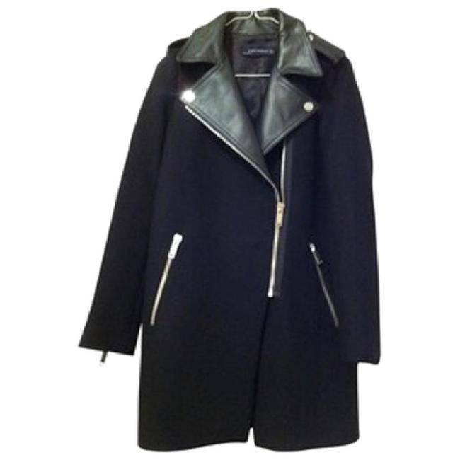 Item - Black Wool & Real Leather Motorcycle Long Small Coat Size 4 (S)
