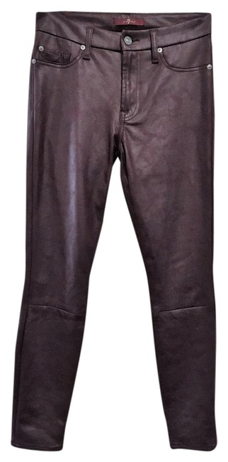 Item - Burgundy Wine Faux Leather Look Skinny Jeans Size 27 (4, S)