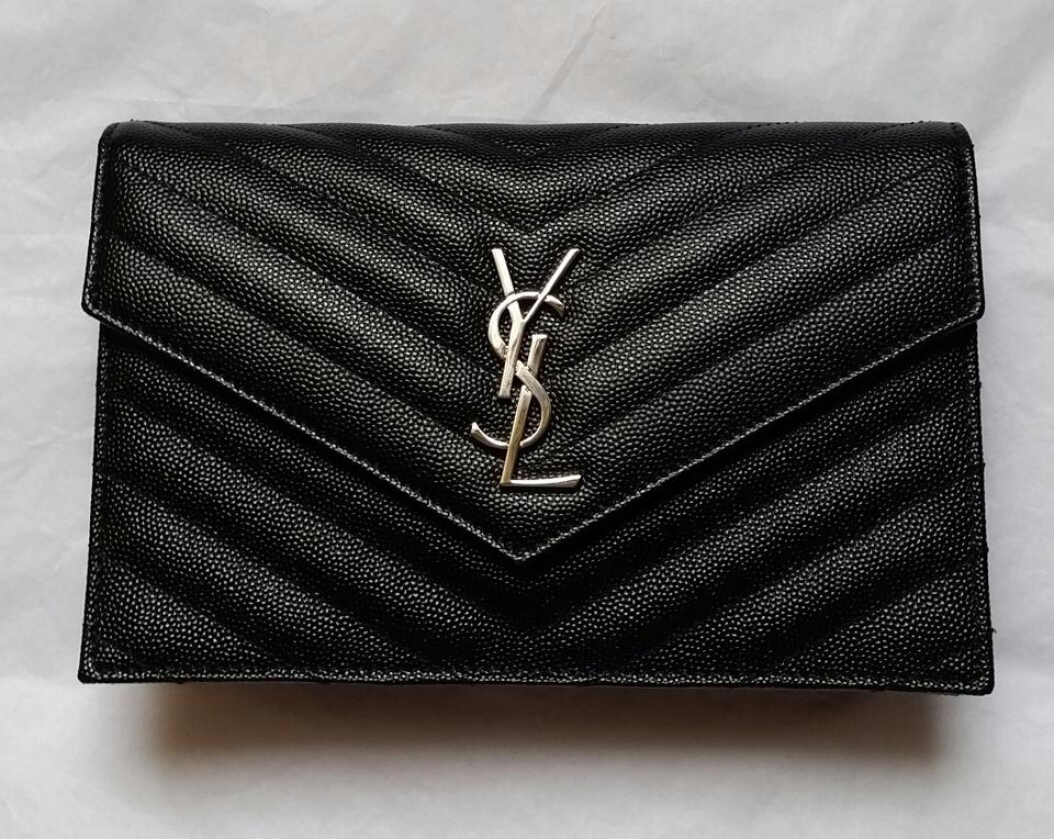 e12267d20849 Saint Laurent Chain Wallet   New with Tag  Monogram Matelasse Small Envelope  Black Leather Cross Body Bag - Tradesy
