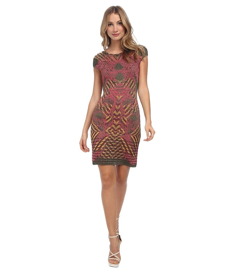 6d1c5bf5149a98 M Missoni Olive Lurex Placed Print Jaquard Women s Euro 38 Night Out Dress