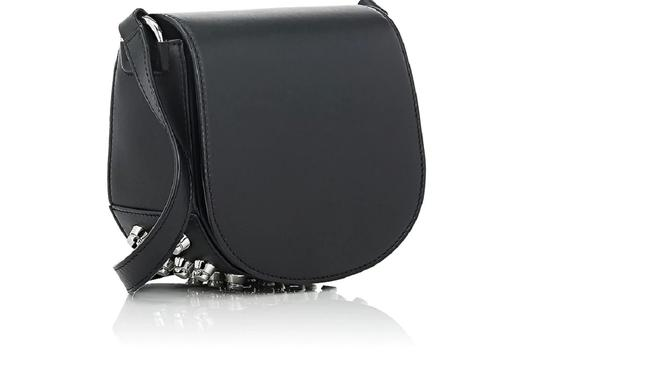 Item - Lia Mini Studded Black with Silver Hardware Lambskin Leather Cross Body Bag