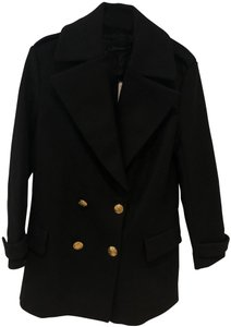 Zara Military Inspired Navy Peacoat Coat