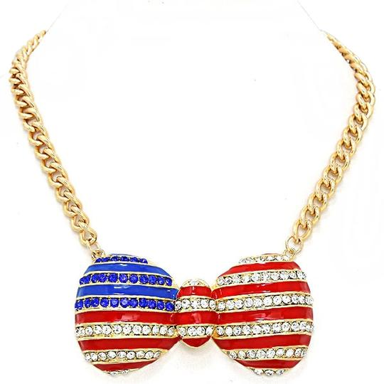 Preload https://item4.tradesy.com/images/gold-tone-red-white-and-blue-american-flag-rhinestone-crystal-accent-bow-necklace-2239193-0-0.jpg?width=440&height=440