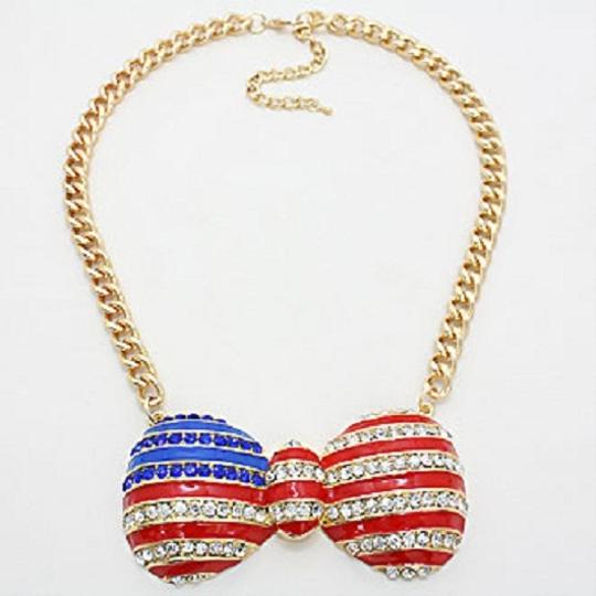 Simple Black Label American Flag Rhinestone Crystal Accent Bow Necklace